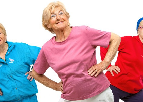 three older ladies exercising
